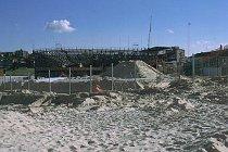 Beachvollyballstation am Bondi Beach wird gebaut.
